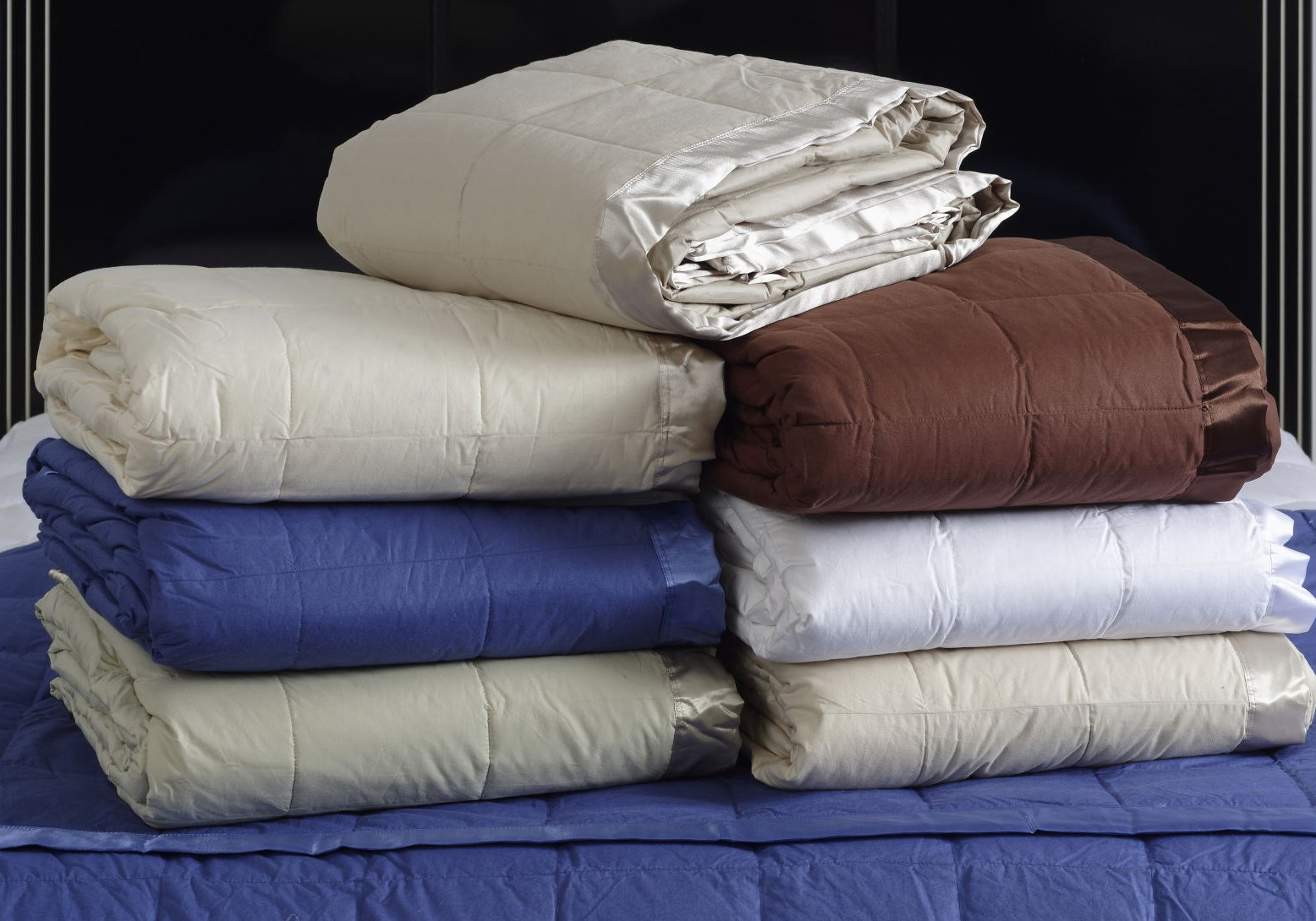 classic styling and design define this 5 12inch boxstitch style down blanket with 2u201d dyed to match satin trim the shell fabric is woven of 100 percent - Down Blankets